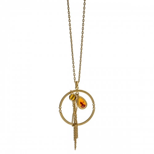 Nicky Vankets Matte Gold Circle and Tassel Necklace