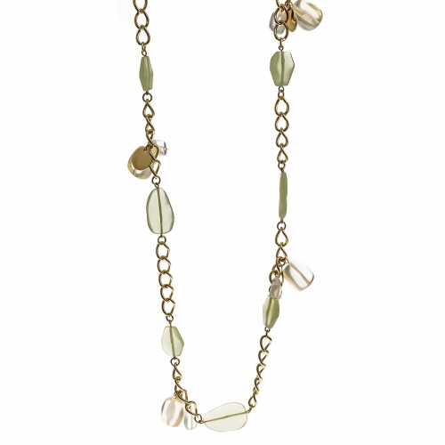 Nicky Vankets Green Stone Chain Necklace