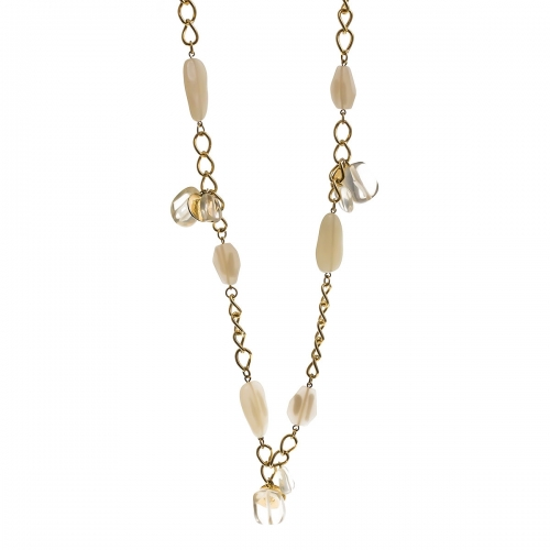 Nicky Vankets White Stone Chain Necklace