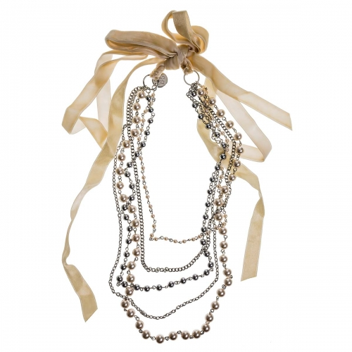 Nicky Vankets Cream and Silver Ribbon Tie Necklace