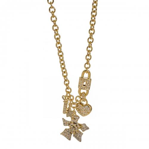 Nicky Vankets Gold Stone Flower Pendant Necklace
