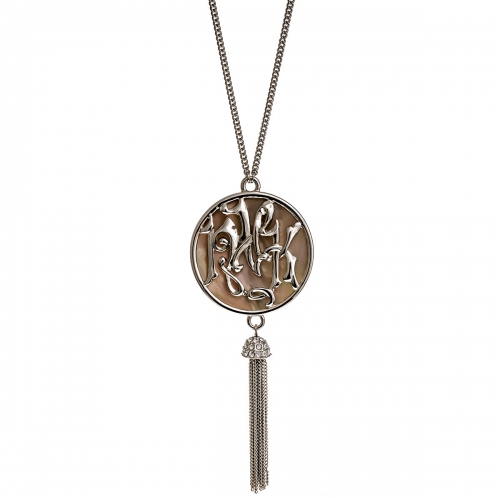 Nicky Vankets Pearlescent Disc Tassel Necklace