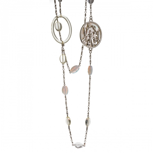 Nicky Vankets Silver Belcher Necklace Chain with Logo Detail