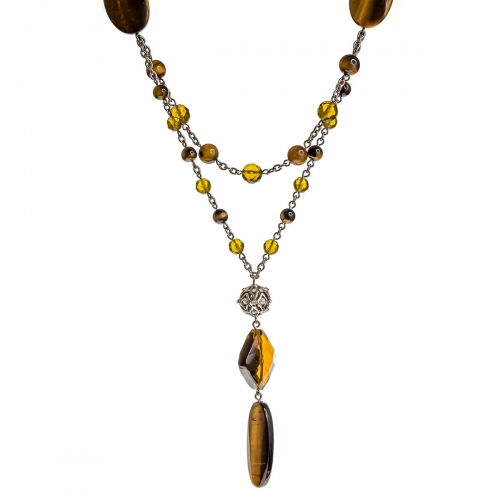 Nicky Vankets Silver and Brown Matinee Necklace