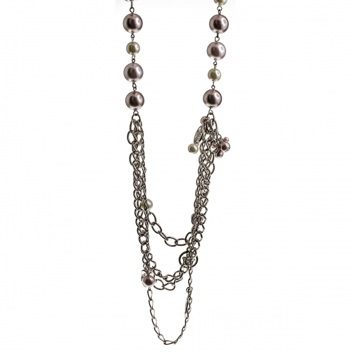 Nicky Vankets Pink Multi Chain Necklace