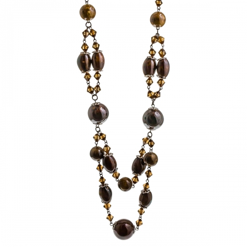 Nicky Vanket Brown Beaded Matinee Necklace