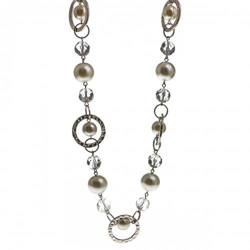 Nicky Vankets White Disc Beaded Opera Necklace
