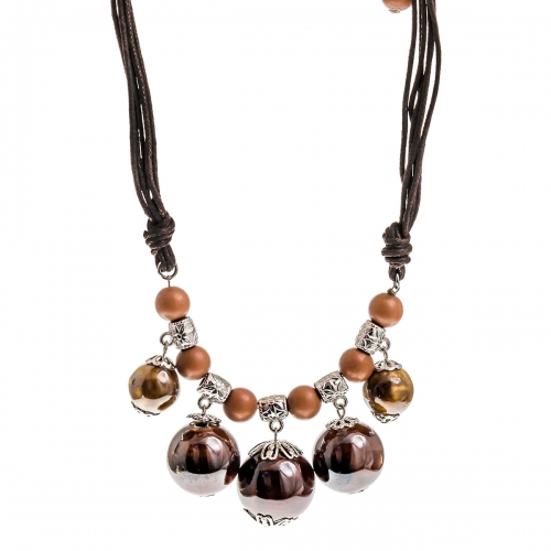 Nicky Vankets Brown Bead Black Cord Necklace