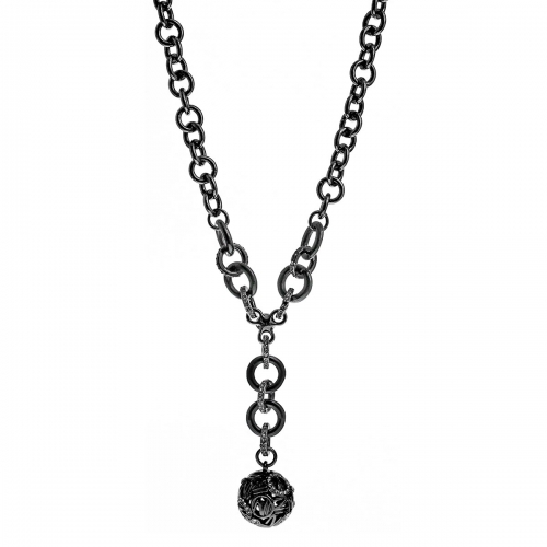 Nicky Vanket Gunmetal Openwork Ball Pendant Necklace