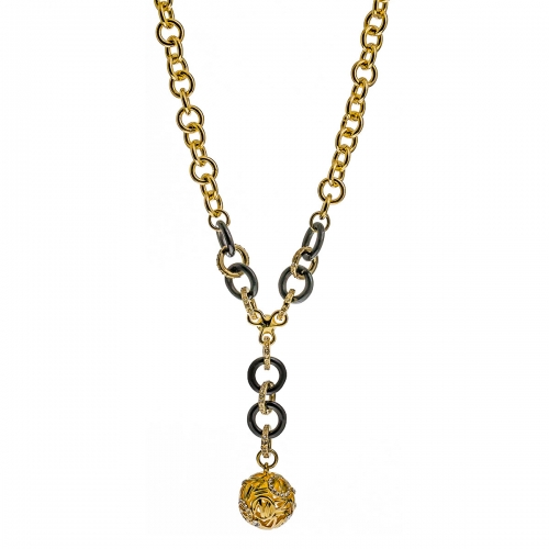Nicky Vanket Gold Openwork Ball Pendant Necklace