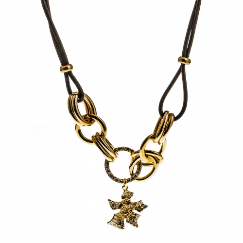 Nicky Vankets Gold Large Link Necklace with Flower Pendant