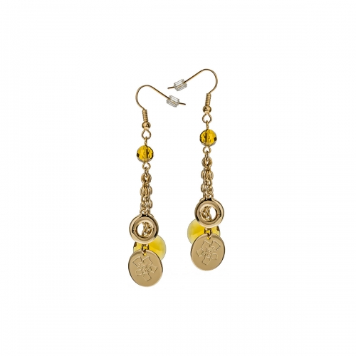 Nicky Vanket Gold Disc Dangle Earrings