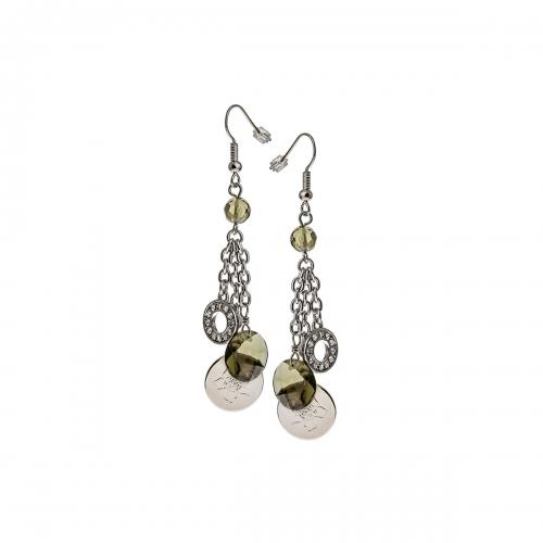 Nicky Vanket Silver Disc Dangle Earrings