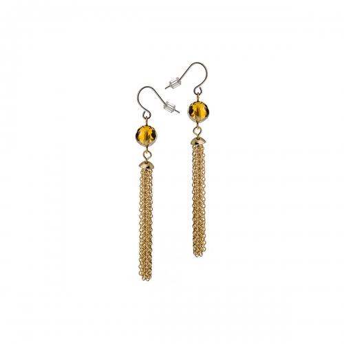 Nicky Vankets Gold Tassel Drop Earrings