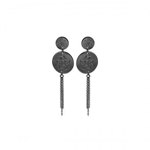 Nicky Vanket Gunmetal Disc Drop Earrings