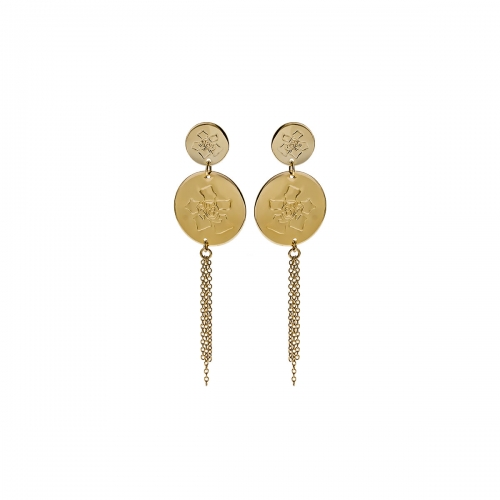 Nicky Vanket Gold Disc Drop Earrings