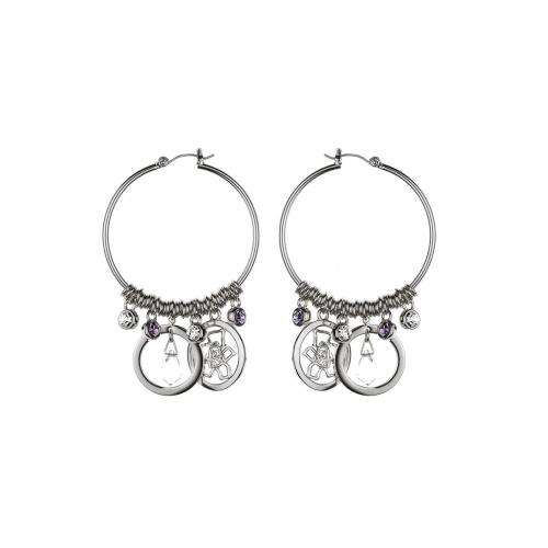 Nicky Vankets Silver Hoop Earrings with Logo Dangle