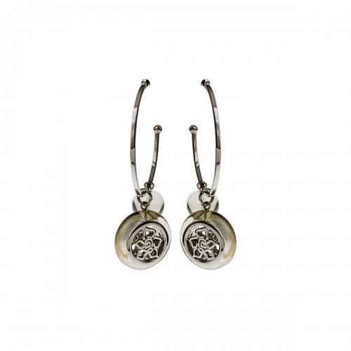 Nicky Vankets Silver and Grey Logo Hoop Earrings