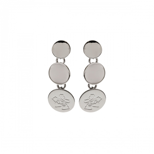 Nicky Vankets Silver Disc Dangle Earrings