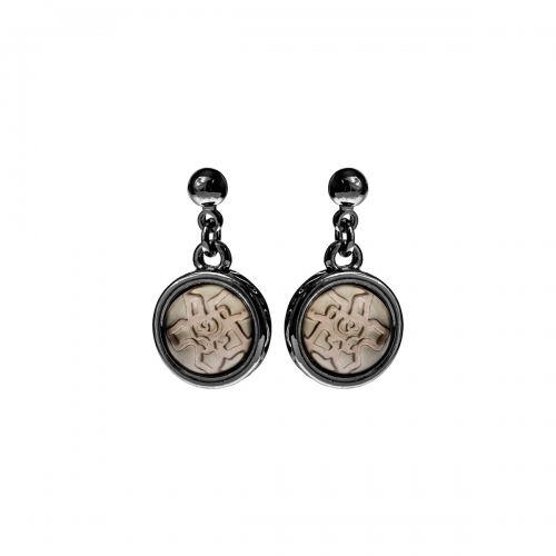 Nicky Vankets Gunmetal Dangle Logo Earrings