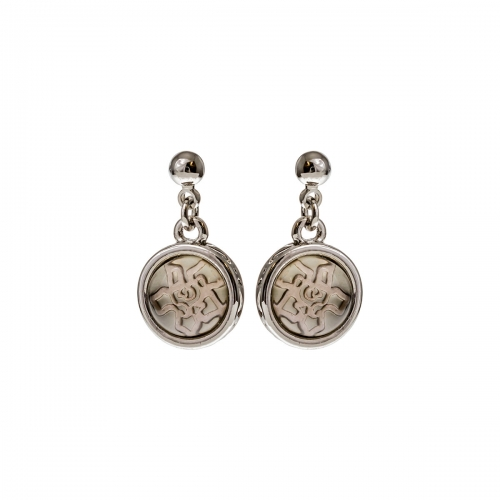 Nicky Vankets Silver Dangle Logo Earrings