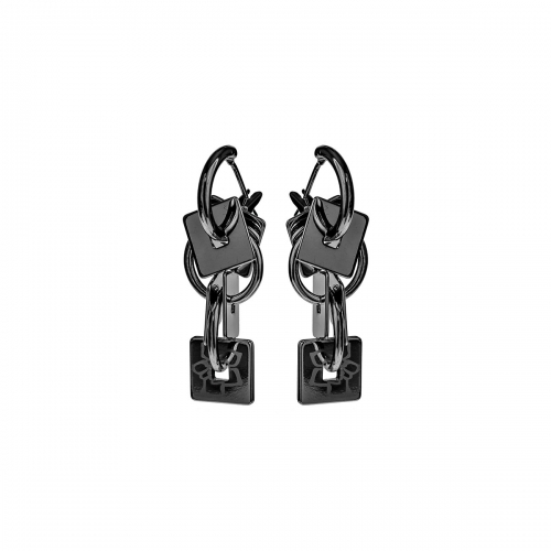 Nicky Vankets Gunmetal Square Drop Earrings