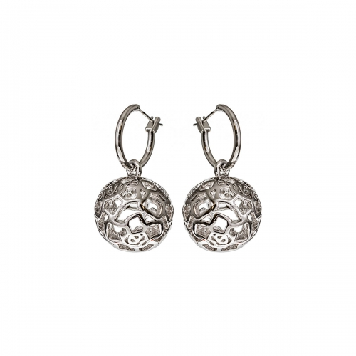 Nicky Vankets Silver Openwork Ball Pendant Earrings