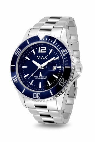 Max Sail Master Silver & Blue Watch