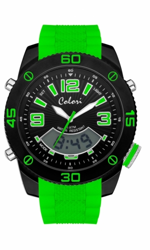 Colori Anadigi Watch 52 IPB/Green 5ATM