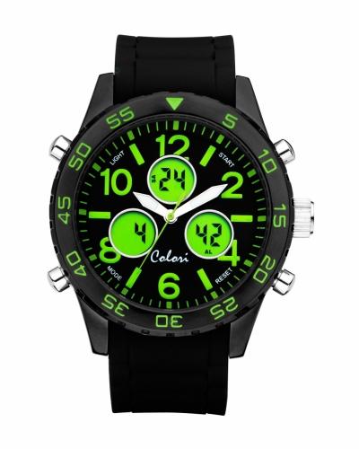 Colori Anadigi Watch 49 IPB/Green  black strap