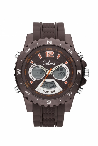Colori Anadigi Watch 52 IP Brown Brown Strap