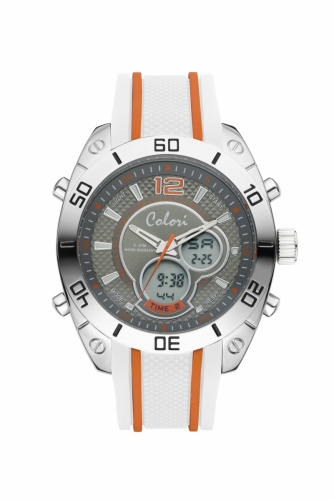 Colori Anadigi Watch 49 IPS Grey Orange Strap