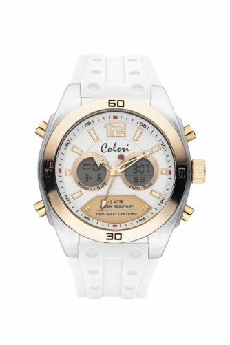 Colori Anadigi Watch 48 IPS Case IPR Bezel white