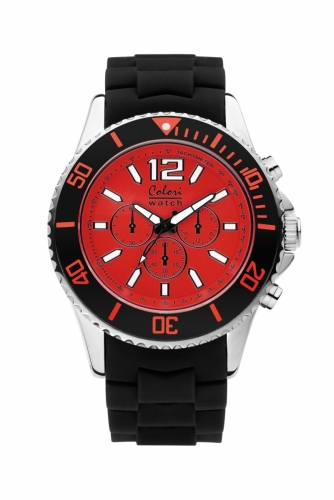 Colori Metal Watch 48 Black Red Chronolook