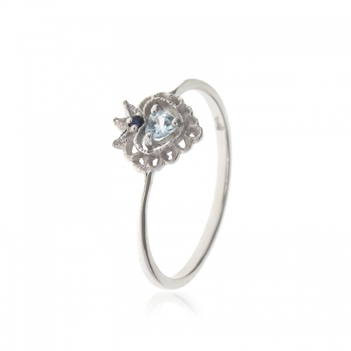 Allure Sterling Silver Blue Topaz Heart Crown Ring