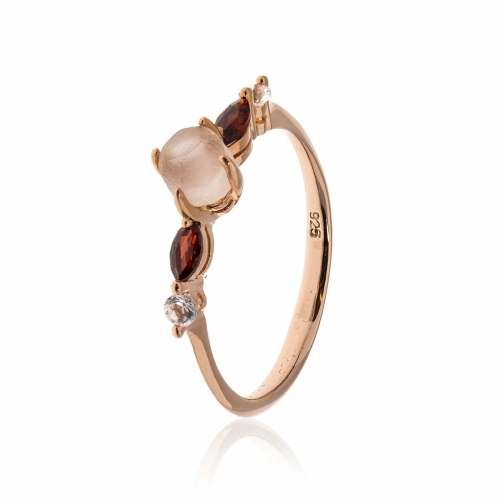 Allure Rose Gold Plated Rose Quartz, Garnet & White Topaz Ring