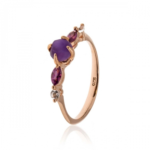 Allure Rose Gold Plated Amethyst & White Topaz Ring