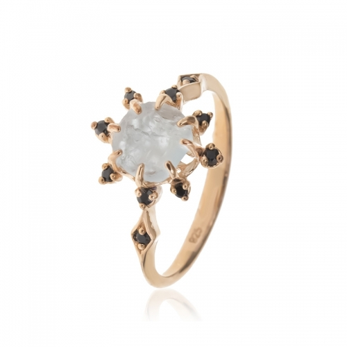Allure Rose Gold Plated White Quartz & Onyx Ring