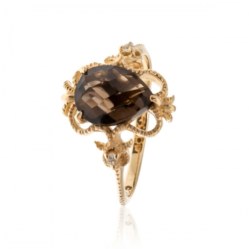 Allure Gold Plated Teardrop Smokey Quartz Ring