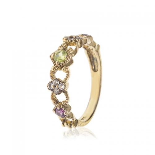 Allure Gold Plated Amethyst, White Topaz and Peridot stones Band Ring
