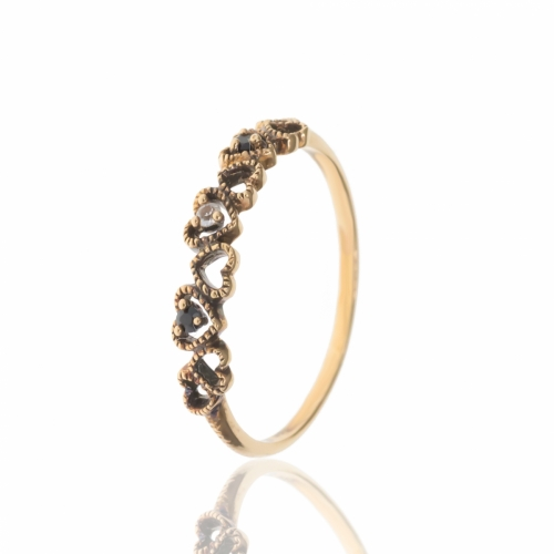 Allure Gold Plated Multi Heart White Topaz & Onxy Band Ring