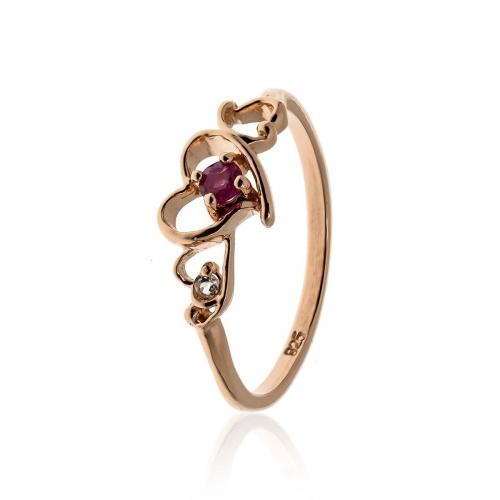Allure Rose Gold Plated Rhodolite Heart Ring
