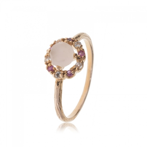 Allure Rose Gold Plated Rose Quartz with Rhodolite & White Topaz Ring