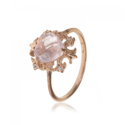 Allure Rose Gold Rose Quartz Stone Ring