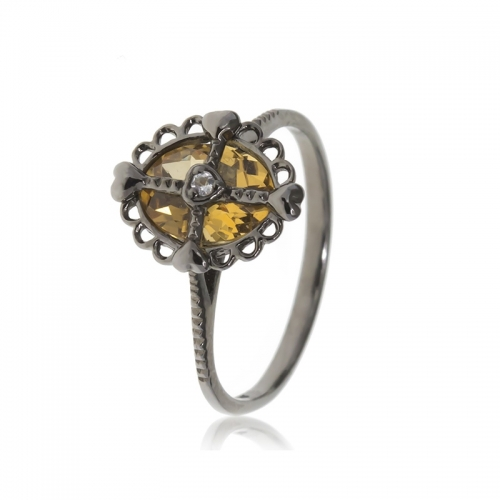 Allure Oxidised Silver Oval Citrine Stone Ring
