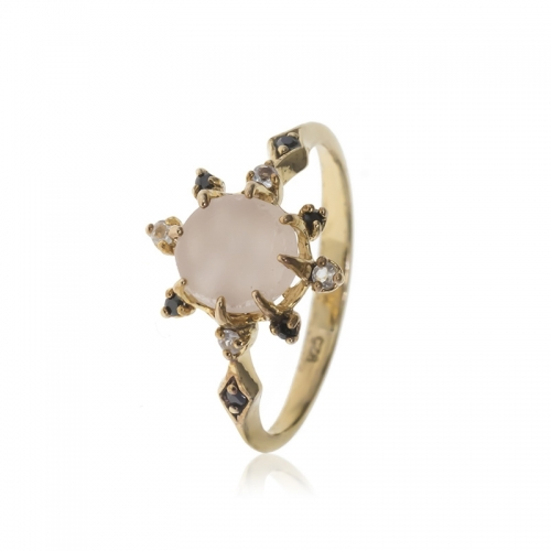 Allure Gold Plated Round Pink Quartz, White Topaz and Onxy Ring