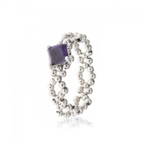 Allure Sterling Silver Chain Amethyst Band Ring