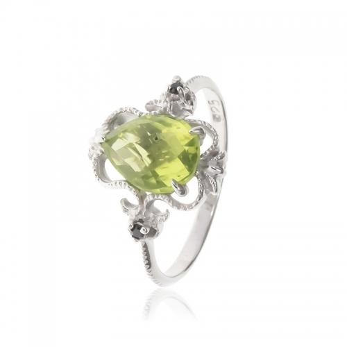 Allure Sterling Silver Ornate Peridot Ring
