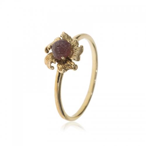 Allure Gold Plated Garnet Flower Ring