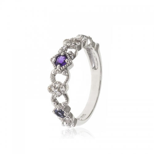 Allure Sterling Silver Round Amethyst & White Topaz Stone Ring